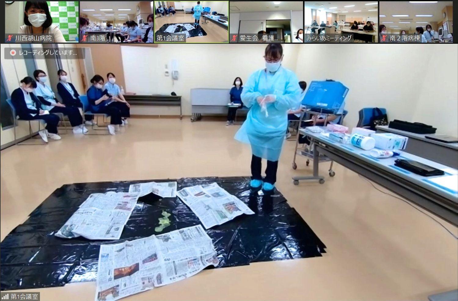 川西湖山病院 看介護部「WEB勉強会~嘔吐物処理方法について~」