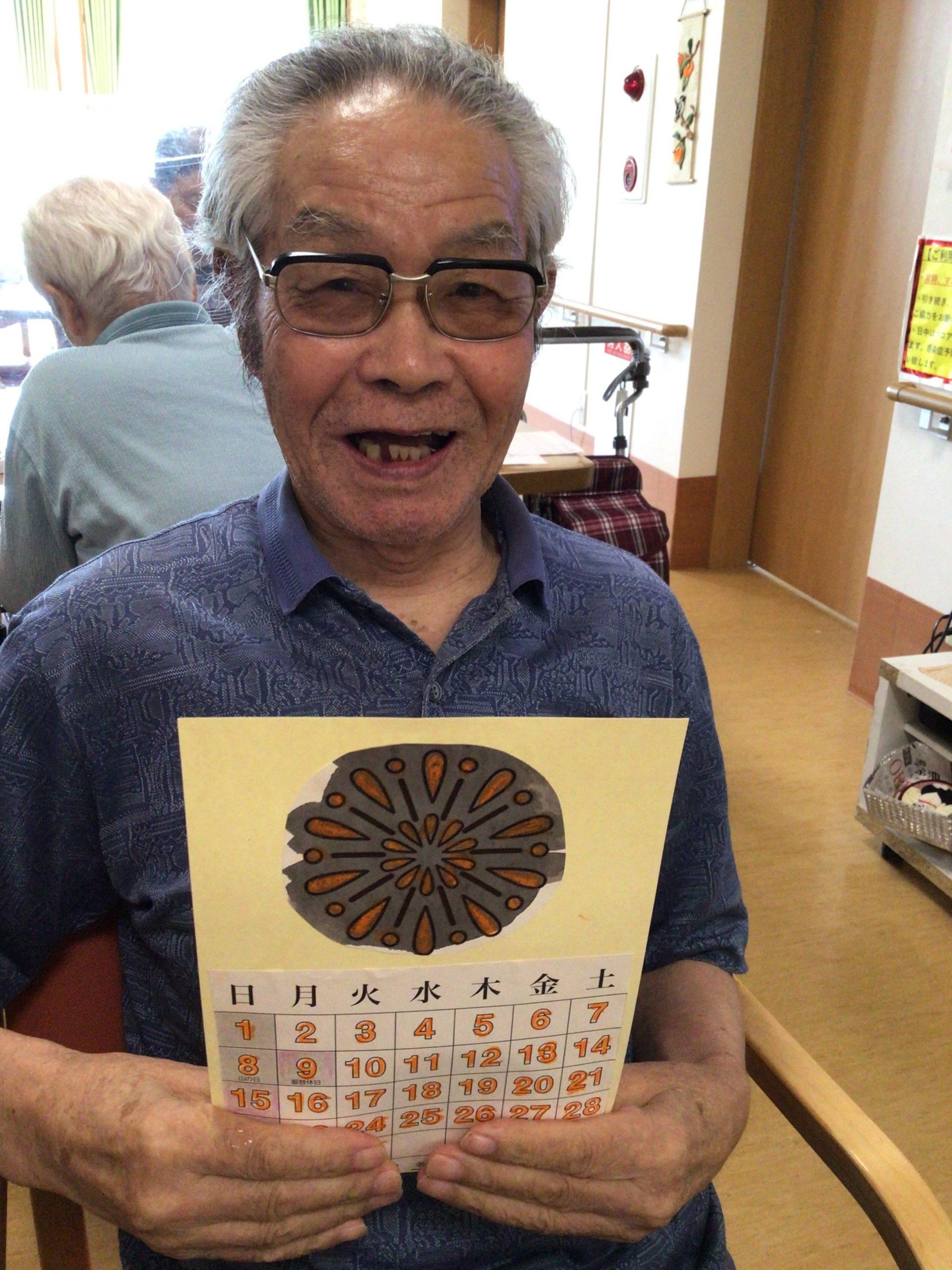 湖山ケアサービス米沢 8月のカレンダー作り
